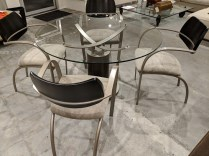 "**ITEM NOW SOLD** CDG (Contemporary Design Group) dining set: glass top table is 48"" round, plus 4 arm chairs, 11 years old. Orig. List: $3.040. Modele's Price: 950.- set"
