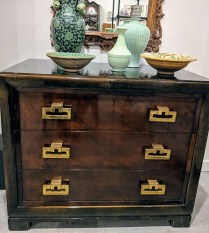 """Vintage Kittinger 3-drawer chest. c. 1960's. Fabulous brass hardware! Shows wear, worth a touch-up. 39""""w x 21""""d x 33.""""h. 850.-"""