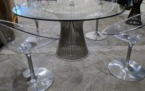 "Set/4 Kartell Eros chairs. Designed by Philippe Starck. 24.5""w x 24""d 31.5""h. Current List: $775. each Modele's Price: 1350.- set/4"