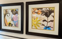 "**ITEM NOW SOLD** Pair decorative framed prints, purchased from Picture Source less than two years ago. 26.25""w x 26.5""h. Orig List: $550. pr. Modele's Price: 275. pair"