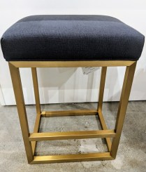 "Set/3 Restoration Hardware 'Reese' counter stools with brushed brass finish and Belgian linen seats. Never used, one year old. 17.75""w x 15""d x 24.5""h. Current List: 651. each, plus delivery. Modele's Price: 1195.- set/3"