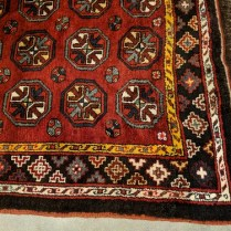"**ITEM NOW SOLD** Vintage hand-knotted rug from Uzbekistan. Just cleaned by D.A. Burns. 6'4"" x 10' 9"" 950.-"