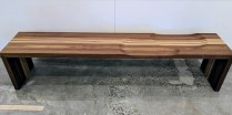 """**ITEM NOW SOLD** Arco 'Code' bench. Designed by Miriam VanDer Lubbe, made in the Netherlands. Never used. Walnut/maple in """"barcode"""" detail with carved seats. 75""""l x 15.75""""w x 15.75""""h. Current List: $4,329. Modele's Price: 1395.-"""
