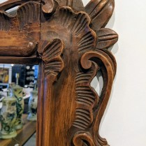 "**ITEM NOW SOLD** Carved wood framed mirror. Age/origin not known but believed to be vintage. 29""w x 40""h. 250.-"