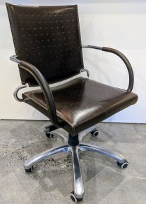 **ITEM NOW SOLD** Leather desk chair. Adjustable seat height. Approx. 5 years old. Orig. $800. Modele's Price: 395.-