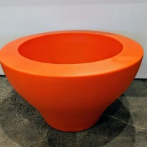"**ITEM NOW SOLD** Serralunga lg. low Ming pot, available in orange or green. Never used. 31""d. x 18.25""h Orig. List: $395. each Modele's Price: 175. each"
