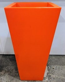 "**ITEM NOW SOLD** Serralunga tall square pot available in orange or red. Never used. 17"" sq. x 37.5""h. Original List: 445. each Modele's Price: 175. each. BUY TWO, GET ONE FREE (equal or lesser value)."