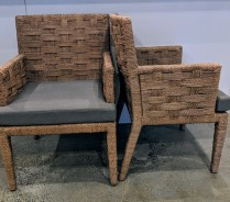 "**ITEM NOW SOLD** Set/6 Wicker Works 'Hopkins' rope dining chairs (all with arms). Purchased in March 2016, used for only two weeks, then stored. Customized chocolate finish on rope. Kerry Joyce fabric on seats. 23.5""w 22""d x 34.75""h. Orig. List: $11,875. set. Modele's Price: 2950.- set"