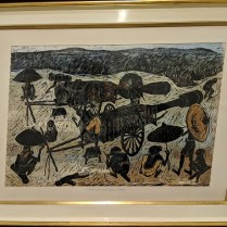 "**ITEM NOW SOLD** Vintage woodblock print by Prapan Srisouta (Thailand). First Print, dated 1/25/1962. 43.5""w x 33.5""h 1100.-"
