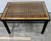 """Custom table from Del Teet; Chinese panel inset, glass top, set in steel frame. 30.25"""" x 20 5/8"""" x 18""""h. 450.-"""