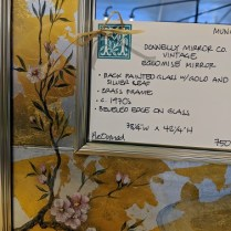 """**ITEM NOW SOLD** Vintage Donnelly mirror, with back-painted glass plus silver and gold leaf. c. 1970's 38.25""""w x 42.25""""h 750.-"""
