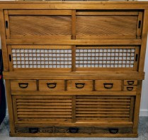 """**ITEM NOW SOLD** Japanese tansu, purchased at Del Teet Furniture approx. 15 years ago. 57""""w x 16.5""""d x 57.5""""h. Two pieces. Orig. List: $3000.- Modele's Price: 1575.-"""