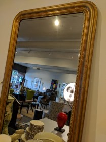 "**ITEM NOW SOLD** Antique Louis Philippe mirror, purchased from Jean Williams Antiques in 2009. C. 1870 (newer glass). 34.5""w x 54.75""h. Orig. Price: $2,962.- Modele's Price: 1500.-"