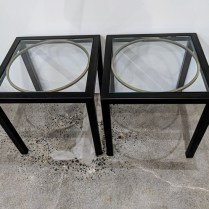 "**ITEM NOW SOLD** Pair 'Circle-Square' bunching tables by Kolkka. Purchased in 2008. 17"" sq. x 17.5""h Original List: $1,844. pair Modele's Price: 595. pair"