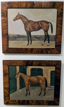 "Pair oil paintings by T. Dickinson, 1926, English. Purchased at St. Martins Gallery in Jackson, MS. Burlwood frames. 23.75""w x 19.75""h. Orig. List: $2,736. pair Modele's Price: 950. pr."