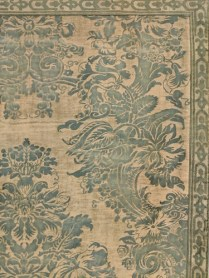 """Custom designed/made Fortuny wall panel (one corner shown). Textile is c. 1920's with backing and mounting board. Removes from mounting and can be used as a bed coverlet. Orig. Price: $6,500. 12 years ago (Fortuny is now $800. per yard). 83.5""""w x 65.5""""h. Modele's Price: 2500.-"""