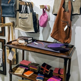 Handmade lovelies by Venetian artist Alessandra D'Agnolo; leather books and bags all designed and made by the artist in Venice. Limited selection.