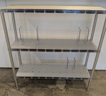 """Kartell 'Partner' shelf, purchased from Current 15 yrs. ago. Designed by Alberto Meda. Extruded aluminum and plastic with adjustable dividers. 39.25""""w x 14""""d x 39""""h. 325.-"""