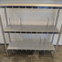 "**ITEM NOW SOLD** Kartell 'Partner' shelf, purchased from Current 15 yrs. ago. Designed by Alberto Meda. Extruded aluminum and plastic with adjustable dividers. 39.25""w x 14""d x 39""h. 325.-"