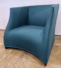 """Pair Porada 'Vivienne' lounge chairs; walnut frame, wool upholstery. Only used for staging, less than one year old. 34.25""""w x 33'd x 29.75""""h. Current List: $6,000. Pr. Modele's Price: 1950.- pair"""