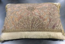 """Rectangular silk and velvet pillow. 4 years old, purchased from boutique in Pasadena. 26.5""""w x 21""""h. Orig. List:$750.-800. Modele's Price: 350.-"""