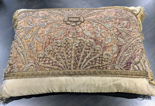 "Rectangular silk and velvet pillow. 4 years old, purchased from boutique in Pasadena. 26.5""w x 21""h. Orig. List:$750.-800. Modele's Price: 350.-"