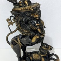 """**ITEM NOW SOLD** Mystery object...who can tell us what this is? Oil lamp? Incense burner? Best guess is Indian origin based on cobra, cow, horse and elephant head. 15.5""""h. 125.-"""