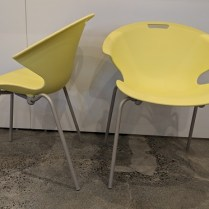"""**ITEM NOW SOLD** Driade 'Mono' indoor/outdoor dining chairs. Available in green, white, grey. 24""""w x 21.5""""d x 29.75""""h. Stackable. (only 3 green chairs available, priced at 150. each) Orig. List: $339. each Modele's Price: 295. per pair"""