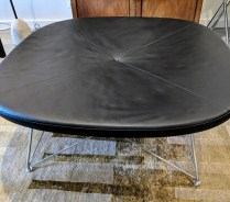 """Erik Jorgensen' (Denmark) 'One For Four' bench in black leather with chromed frame. Purchased at Egbert's in 2010. Model #EJ-144. Use as seating or coffee table. 43"""" sq. x 18""""h. Current List: $5,388. Modele's Price: 1750.-"""