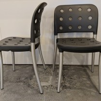 """**ITEM NOW SOLD** Halifax 'Minni' indoor/outdoor dining chairs, stackable. Never used, 20""""w x 20""""d x31.5""""h Orig. List: $599.-699. each 2 Pairs available. Modele's Price: 295. pair"""