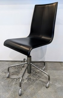 """**ITEM NOW SOLD** Ligne Roset 'Pam' desk chair. Never used. black leather, adjustable seat height. 18.25""""w x 20.5""""d x 36""""h. Orig. List: over $800. Modele's Price: 395.-"""