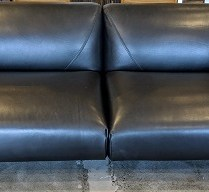 "**ITEM NOW SOLD** Roche Bobois 'Lobby' Large 3-Seat sofa. Three years old, beautiful condition. Saddle leather/wool. 83""w x 36""d x 28""h. Current List: $11,170. Modele's Price: 3950.-"