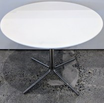"Modern side table, maker not known. Matte lacquer top on chromed steel base. 23.75"" dia. x 19.25""h. Orig. List: $1,575. Modele's Price: 595.-"
