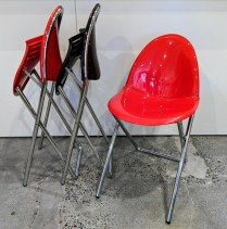 "XO 'Fol D' folding dining chairs in glossy red or dark brown. Never used. 16.75""w x 20""d x 30.25""h. Discontinued style. Orig. List: approx. $300. each Modele's Price: 50.- each Red: 3 available Brown: 4 available"