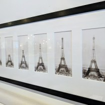 "**ITEM NOW SOLD** Framed series of Eiffel Tower photographs: ""Construction of the Eiffel Tower"". Purchased 20-25 years ago in London. 70""l x 17.75""h 950.-"