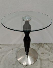 "Ethan Allen side table; glass/wood/steel. C. 1990's. 18""dia. x 22""h. 150.-"