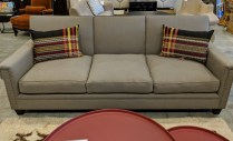 """**ITEM NOW SOLD** Hollywood At Home (Los Angeles) 'Hogan' sofa. One month old, never used in a home. Upholstered in Pindler 'Colby'. Brass nailhead trim. 90""""w x 38""""d x 36""""h. Current List: $6,097. Modele's Price: 2250.-"""