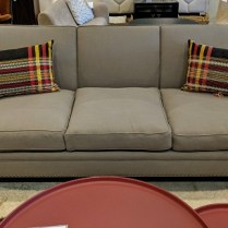 "**ITEM NOW SOLD** Hollywood At Home (Los Angeles) 'Hogan' sofa. One month old, never used in a home. Upholstered in Pindler 'Colby'. Brass nailhead trim. 90""w x 38""d x 36""h. Current List: $6,097. Modele's Price: 2250.-"