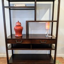 "**ITEM NOW SOLD** Michael Weiss for Vanguard etagere with two drawers. Purchased from Masins. 55""w x 20""d x 76.5""h. Orig. List: over $2000. Modele's price: 950.-"