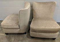 """**ITEM NOW SOLD** Pair Baker Barbara Barry slipper chairs. Approx. 15 years old, very light use. Nail head trim, sculpted feet. 28""""w x 32""""d x 34.75""""h Orig. List: $2,500.-3,000.each. Modele's Price: 2250.- pr."""