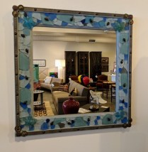 "**ITEM NOW SOLD** Beach glass mirror, mounted on board. Labeled 'Crista Ann'. 21.25"" square. 75.-"