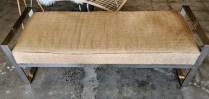 """Kravet bench, chrome frame, upholstered with hair-on-hide. 10 yrs. old. 54.75""""l x 21""""d x 18.25""""h. Orig. List: $3,459. Modele's Price: 1500.-"""