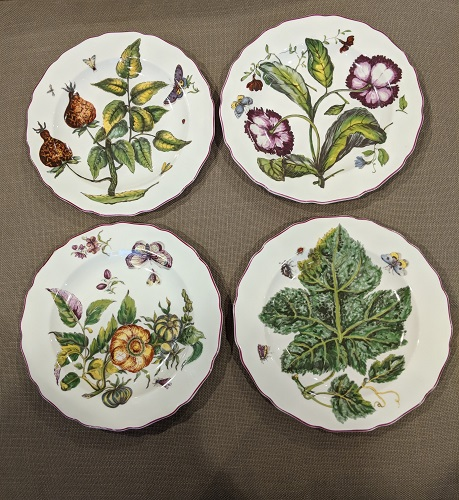 """Set/4 Mottahedeh dessert plates. Desgin adapted from Sir Hans Sloane's paintings. Very light use. 8.5"""" dia. 75.- set/4"""