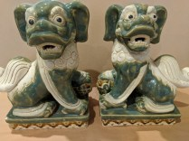 "**ITEM NOW SOLD** Pair ceramic vintage foo dogs. Origin not known. 9""w x 7""d x 10.5""h. 75.- pair"