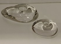**ITEM NOW SOLD** Set/2 Tiffany Elsa Peretti 'Glass Stone' candleholders. 150.- set/2