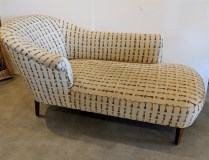"""Vintage chaise, reconditioned in 2006 and reupholstered with Donghia fabric. Fabric + labor was over $2000. 64""""l x 34""""d x 33.5""""h. 950.-"""
