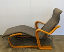 "Marcel Breuer designed vintage chaise, made by Gavina (Italian), c. 1970's. Beechwood frame. One repair has been done under footrest, structure is strong. 52.5""l x 26""w x 34.5""h. 795.-"