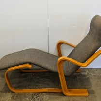 "**ITEM NOW SOLD** Marcel Breuer designed vintage chaise, made by Gavina (Italian), c. 1970's. Beechwood frame. One repair has been done under footrest, structure is strong. 52.5""l x 26""w x 34.5""h. 695.-"