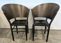 "Pair vintage Driade-Aleph chairs designed by Philippe Starck, no longer in production. Rush seats, curved wood backs. 26.25""w x 24""d x 34.5""h 895.- pair"