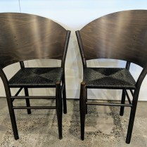 """**ITEM NOW SOLD** Pair vintage Driade-Aleph chairs designed by Philippe Starck, no longer in production. Rush seats, curved wood backs. 26.25""""w x 24""""d x 34.5""""h 695.- pair"""